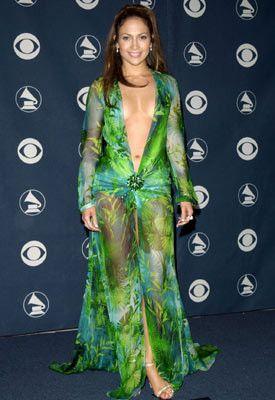 de Jennifer Lopez en verde usado Vestido Grammys los Versace A1SByFwWE