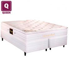 Cama Box Queen Size Herval + Colchão Millenium Bambu Mola Ensacada com Tecido Jacquard 64 x 158 x 198cm - Cód. C292322