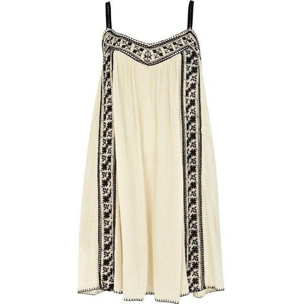 River Island Cream embroidered swing cami dress ($54) ❤ liked on Polyvore