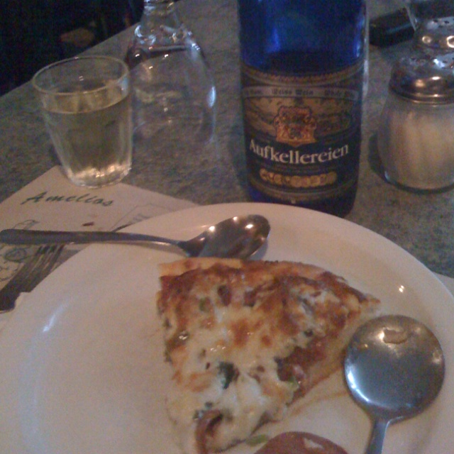 Aufkellerein and a slice of pizza. Classy!