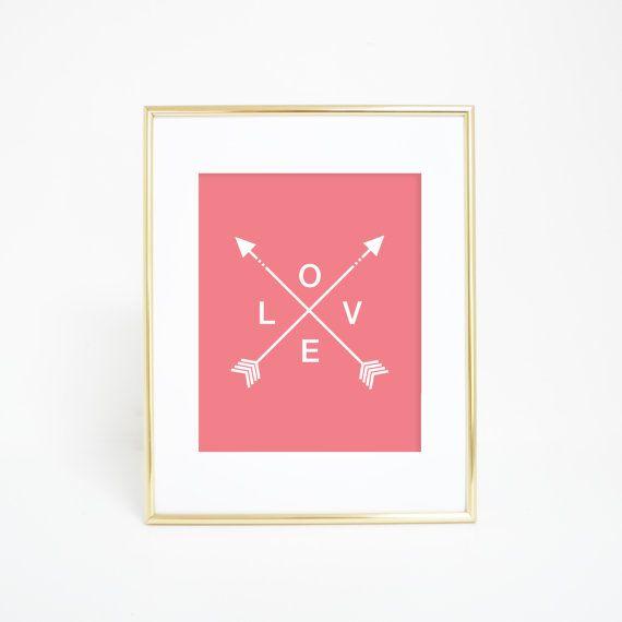 Tribal Arrow Prints, Coral Print, Digital Prints, Love Print, Arrow Prints, Tribal Arrows, Printable Wall Art, Arrow Love Print, Pink Art
