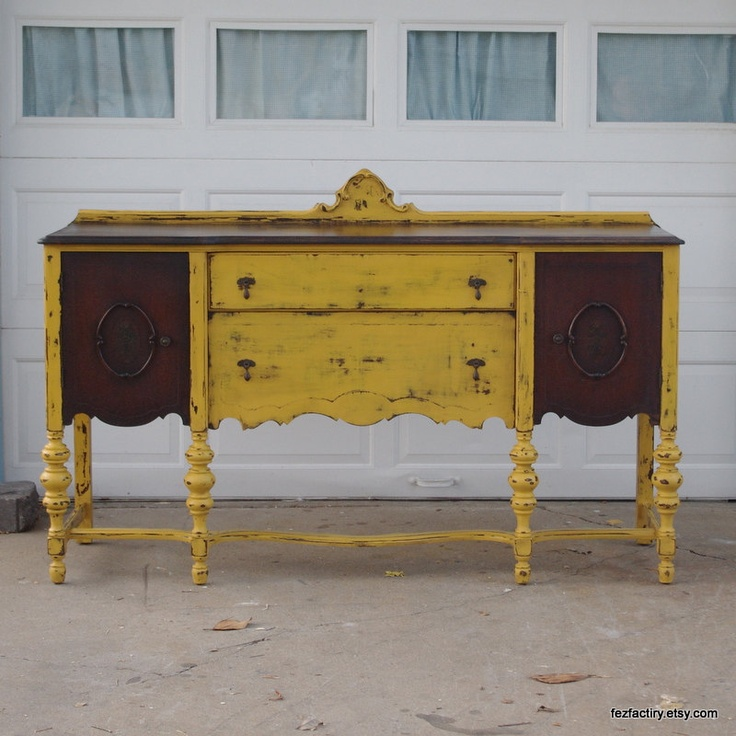 Mustard Yellow Refinished Antique Buffet Sideboard