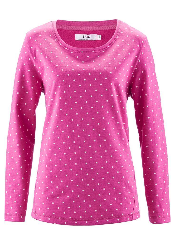 Bonprix sweatshirt sweater jumper fuchsia hot pink white polkadots trui roze wit