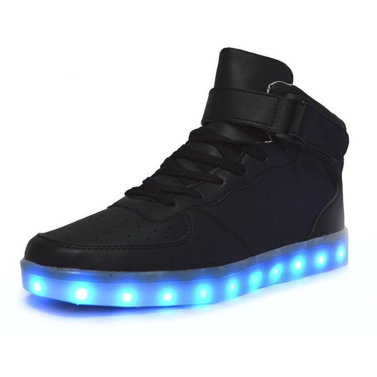 [Present:kleines Handtuch]Schwarz EU 39, Casual 7 LED-Licht Sneakers Sneakers High Shoes Couple weise Changing Unisex Sport Color Luminous Top Flash U