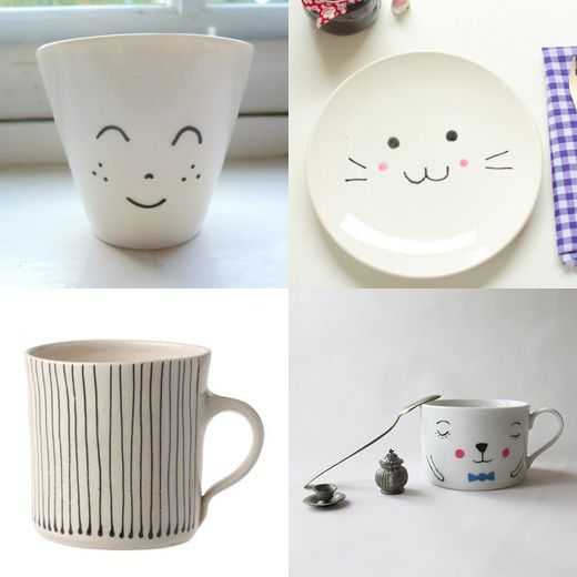 Porcelain paint inspiration – mug by Mamzelle Titoo, plate by Ishtar Olivera, mug from Toast and mug by Andrea Tachezy.