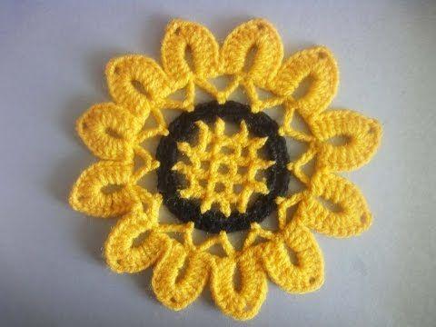 Мотив ПОДСОЛНУХ SUN FLOWER Crochet Motif - YouTube