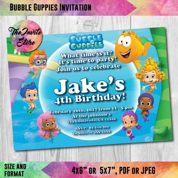 25 best The Invite Store Invitations images – Bubble Guppies Party Invites