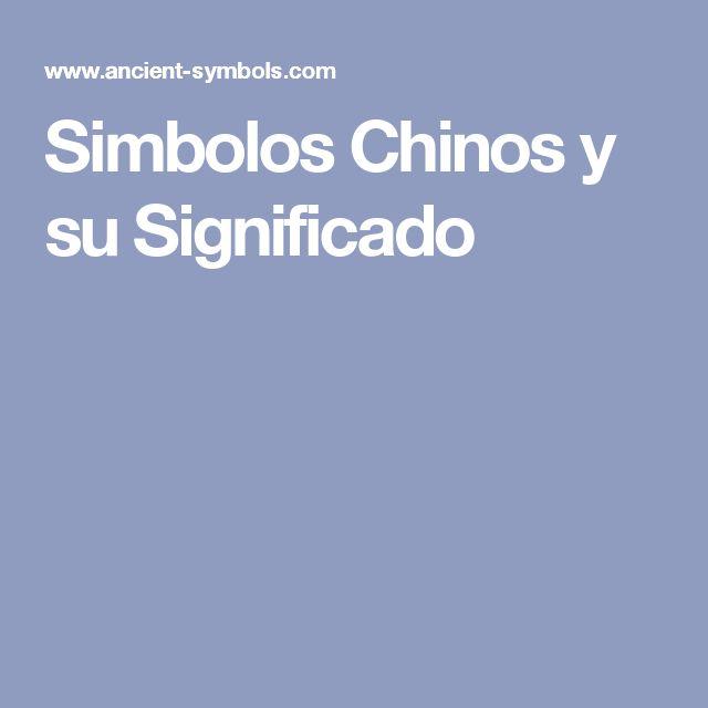 Simbolos Chinos y su Significado