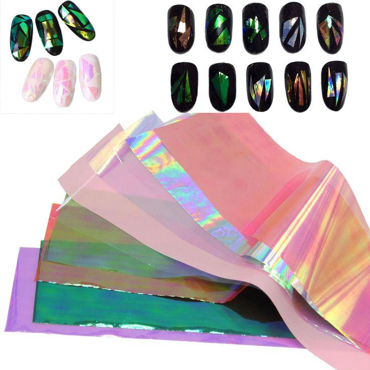 10/20 Hojas/set 3D Holográfico Láminas de Vidrio Roto Espejo Pegatinas de Dedo Del Arte Del Clavo para Uñas Glitter Stencil Calcomanía DIY manicura