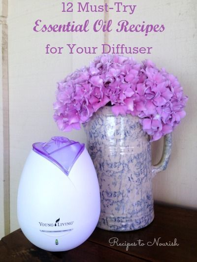 12 Must-Try Essential Oil Recipes for Your Diffuser ... these combos smell amazing! A great way to experience the benefits of essential oils. | Recipes to Nourish: