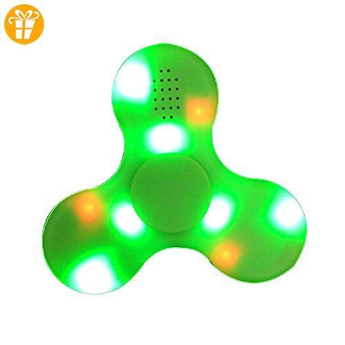 Fidget Spinner Leuchtend, Lamshaw 2-in-1 Fidget Handspinner LED mit Bluetooth Musik Lautsprecher Neu 2017 (Grün_LED) - Fidget spinner (*Partner-Link)