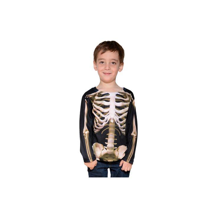 Halloween Faux Real Toddler Boys' Skeleton Costume T-Shirt 4T, Black