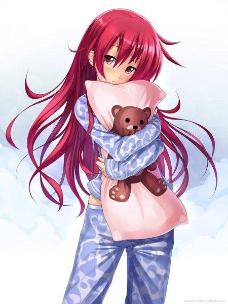 Девушка с алыми волосами аниме
