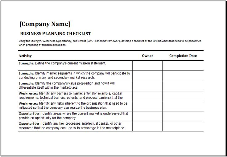business planning checklist template at http://www.xltemplates.org/business-planning-checklist-template/