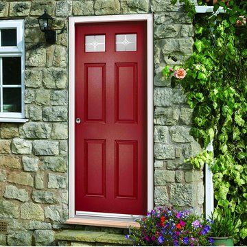 The construction is a one piece HDF solid core with a polyvynil skin.Comes with white frame. #compositedoor #safedoors