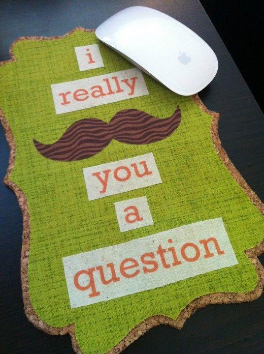 : Idea, Cork Mousepad, Crafty, Corks, Cork Board, Corkboard, Mustache, Mouse Pad