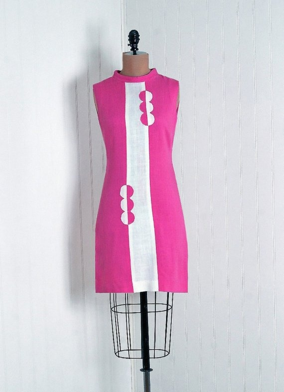 1960's Pink and White Linen-Cotton Op-Art Mini Dress. From TimelessVixenVintage.
