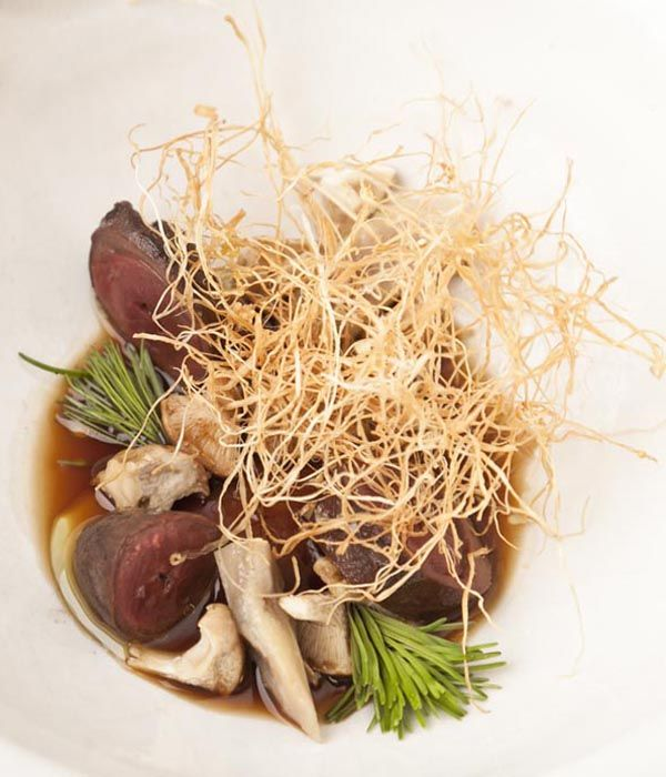 If you can get over any squeamishness, this duck heart and tongue recipe from Nuno Mendes pays off in bounds with bags of ducky flavour.