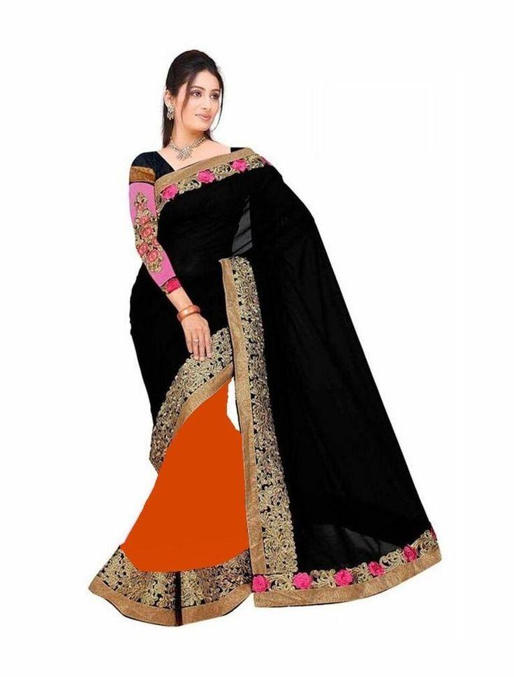 Designer Saree Indian Bollywood Ethnic Party Wear Black Orange Gold Sari 6.3m #SunriseInternational #WomenEthnicWearBollywoodDesignerWeddingSaree