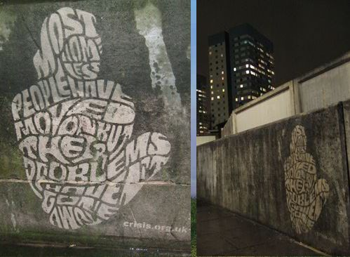 """Moose (London) and Orion's (São Paulo) """"reverse graffiti"""" is created by selectively removing accumulated grime off of a large surface (sidewalks, tunnel walls) so that images appear."""