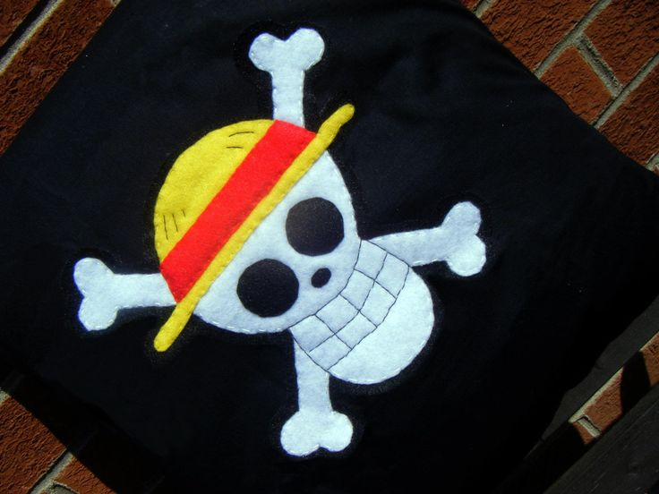 One Piece pirates straw hat skull luffy jolly rodger flag anime pillow cushion