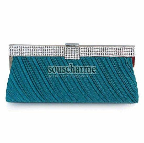 Pochette soirée sarcelle en satin plissé rehaussé de strass pochette portefeuille femme pas cher