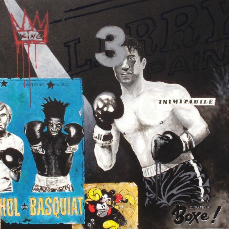 'Nato per la boxe', tecnica mista su tela, opera di Massimo Amadesi