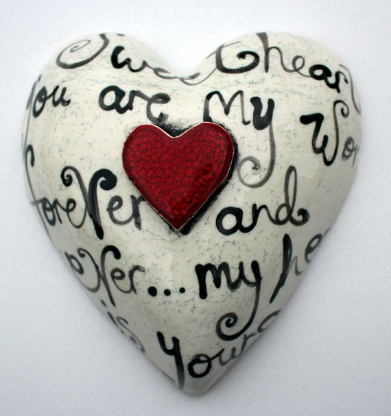 The Monster Company Classic white and black heart, with red glazed middle heart. 24cm x 26cm. Handmade out of sculptural clay, fired to 1150 degrees. All our work