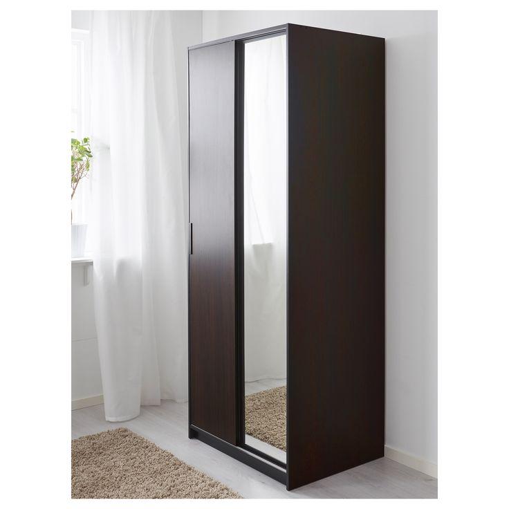 IKEA - TRYSIL Wardrobe dark brown, mirror glass
