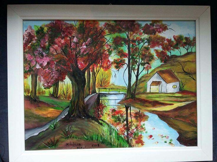 Peisaj(40€) Tablou pictat pe panza Dimensiuni 46/35cm Disponibil