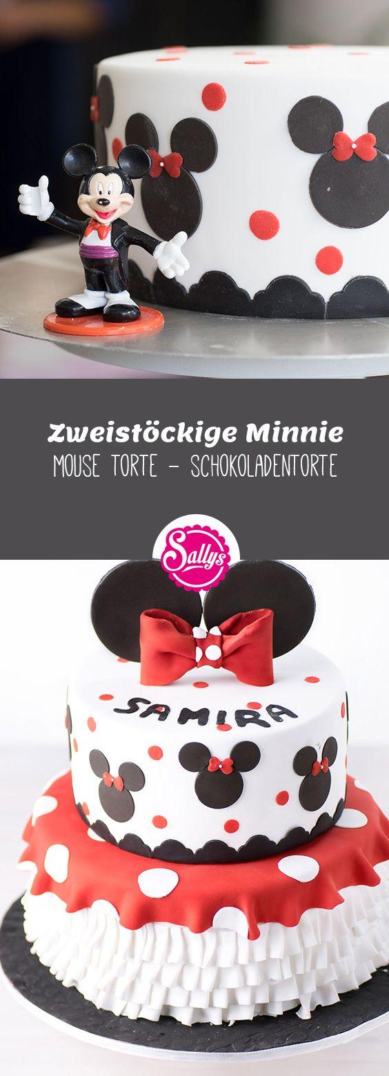 Zweistöckige, saftige Schokoladentorte mit Minnie-Mouse Dekoration.