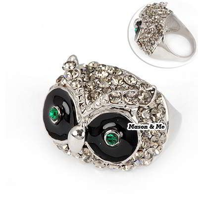 (Silver) Korean Tactful Fashion OWL Decorated With CZ Diamond Charm Ring General. Fashionable with passion REPIN if you like it.😊 Only 104 IDR