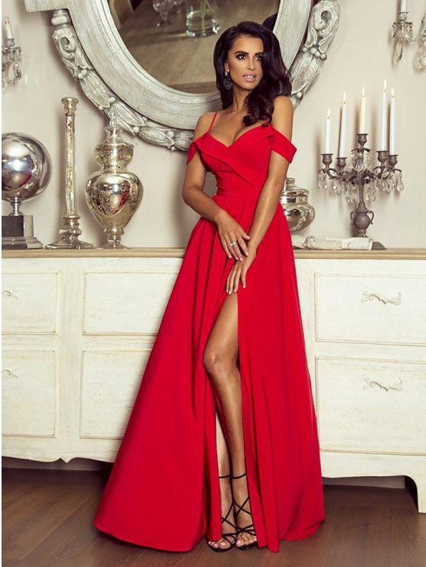 de000cea1d Elegancka Długa Suknia Caroline Czerwona w 2019