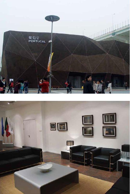 Portugiesischer Pavillon Expo 2010, Shanghai China. Der Architekt Carlos Couto benutzte Kork für den Bau des portugiesischen Pavillons, da dieser ein typischer Rohstoff Portugals ist. Mit dem modernen Design, der Fassade und dem Boden im Inneren ließ sich zeigen, wie stylisch, vielfältig und robust Kork ist. Quelle: Amorim #Kork