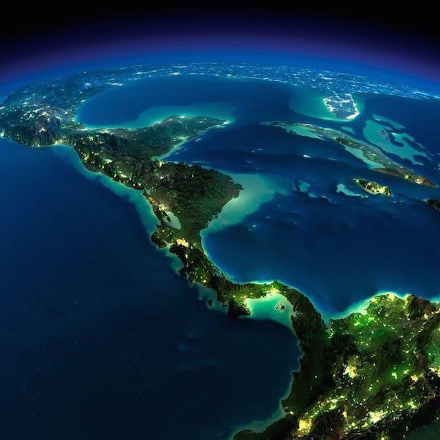 Terra vista do espaço América Central e Mar do Caribe