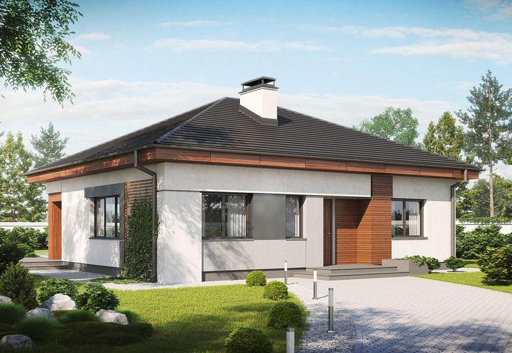 Parterowy dom z szarym dachem kopertowym i nowoczesną elewacją. #projekty #domów