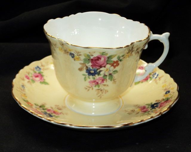 AYNSLEY CHINA ENGLAND TEXTURE GOLD ROSE CREAM TEA CUP AND SAUCER