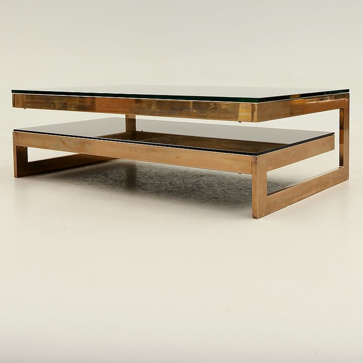 Coffee Table In Goldplated Brass And Mirrored Glass