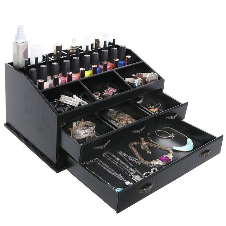 Jewelry Organizer Wooden Makeup 4 Drawer Display Necklace Storage Earrings Case