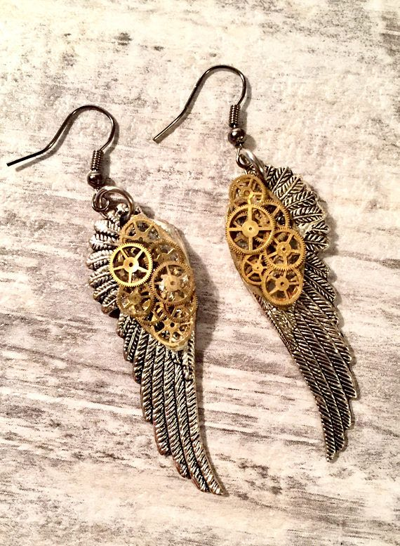 Steampunk Angel Wing Earrings with vintage Gears #SteampunkEarrings #AngelWingEarrings #Jewelry