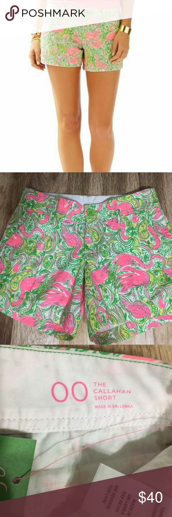 Lilly Pulitzer Callahan Shorts in Hot Wings If you have an affinity for flamingos you MUST own these shorts from Lilly Pulitzer! In the fun paisley print Hot Wings from the Spring 2015 collection, great with a crisp white tunic or a hot pink blouse! Size 00, NWT, never worn. Cover photo courtesy of lillypulitzer.com.  🚫TRADES🚫 🚫OFFLINE TRANSACTIONS🚫  ✅BUNDLES✅ ✅REASONABLE OFFERS✅  Happy Poshing! 😄 Lilly Pulitzer Shorts