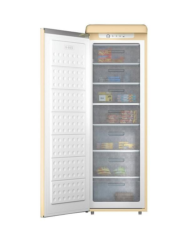 Swan Swan SR11040 60cm Retro Tall Freezer - Cream This cream Swan SR11040 Retro Tall Freezer adds instant style and plenty of storage space to your kitchen  It boasts an impressive 230-litre capacity to ensure you'll always have room for the weekly shop, along with lots of family favourites and a few extras when you're entertaining guests. With so much space you'll always have something delicious in for dinner too, meaning fewer trips to the shops when you're cooking for the whole…