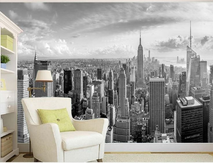 Cheap tv background wallpaper, Buy Quality background wallpaper directly from China mural wallpaper Suppliers: Classic black and white New York City building construction TV background wallpaper 3d mural wallpaper