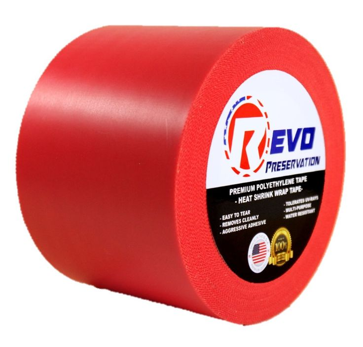 "REVO Preservation Tape / Heat Shrink Wrap Tape (4"" x 60 yards) MADE IN USA (RED) Poly Tape - Electrical Tape - Asbestos Removal Tape (PINKED EDGE) SINGLE ROLL (ECONOMY: 7.5 MIL THICKNESS)"