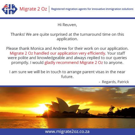 We aim to make your visa application be as fast and smooth as possible, just ask our satisfied client, Patrick.