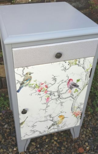 Grey cabinet bedside cupboard. Val: Wallpaper front from B & Q UK £16 per roll in duck egg blue