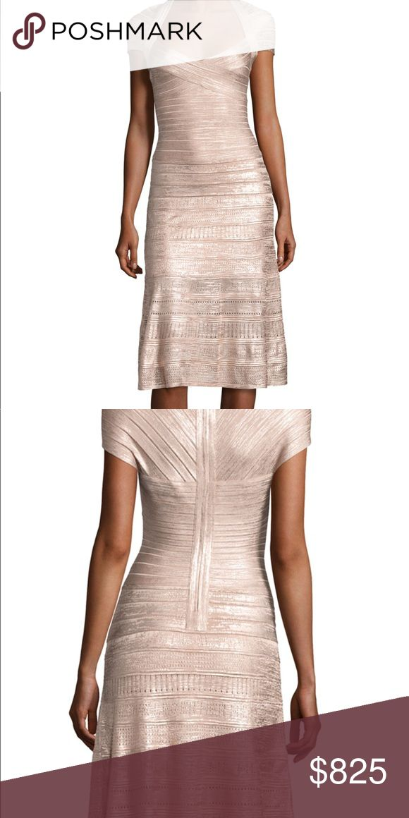 """Herve Leger Dress Herve Leger midi dress in textured metallic foil knit. Approx. 42.5""""L down center back. Bandage knit that widens and tapers for hourglass effect. Sweetheart neckline. Cap sleeves. Fitted through bodice and thighs. A-line skirt. Bound back zip. Rayon/nylon/spandex. Imported. hever leger Dresses"""