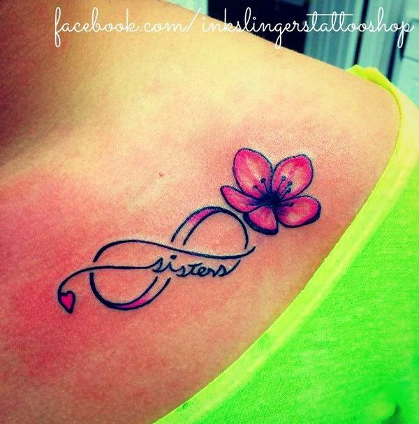 Sisters Flower and Infinity Tattoo.