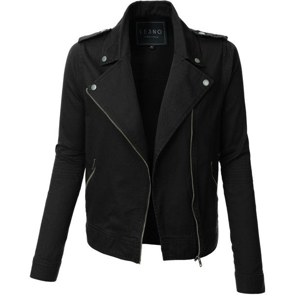 LE3NO Womens Cropped Long Sleeve Zip Up Moto Military Jacket found on Polyvore featuring outerwear, jackets, tops, black, coats, lightweight cotton jacket, cotton military jacket, army jacket, lightweight jacket and cotton field jacket
