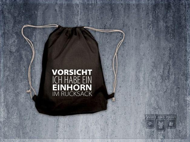 "Turnbeutel, Rucksack ""Vorsicht Einhorn"" // gym bag, tote bag ""unicorn"" by shirtandprint via DaWanda.com"